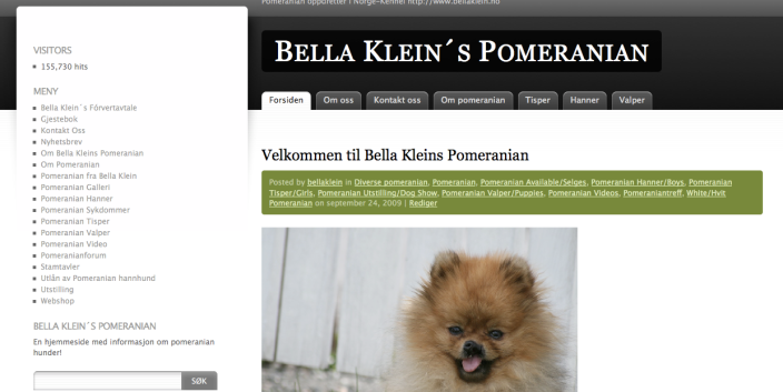 Ny design på Bella Klein Pomeranian´s hjemmeside
