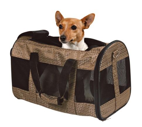 Transportveska til katter og små hundar. Den har netting for å få bra ventilasjon.